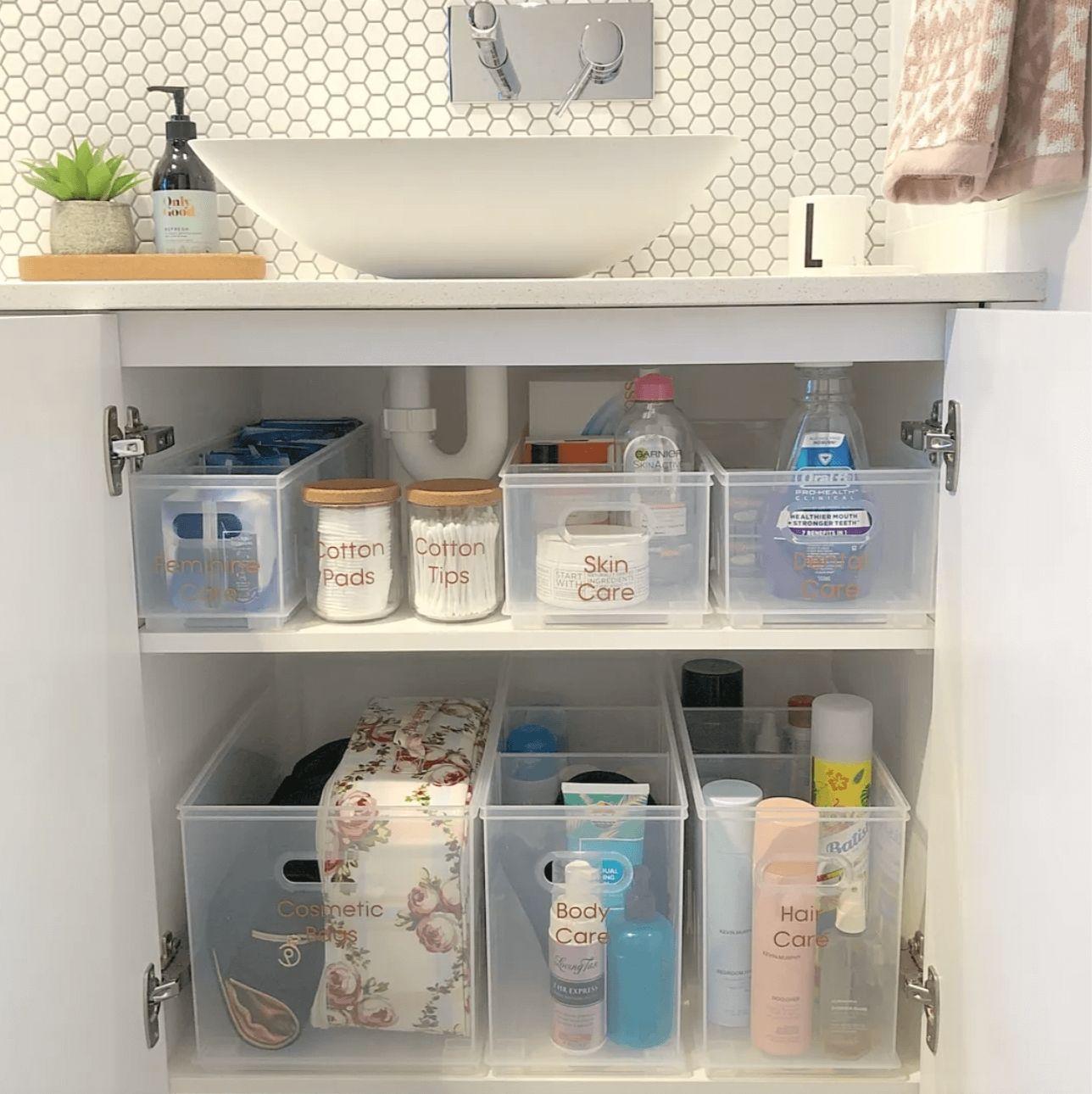 Bathroom storage basket organizers