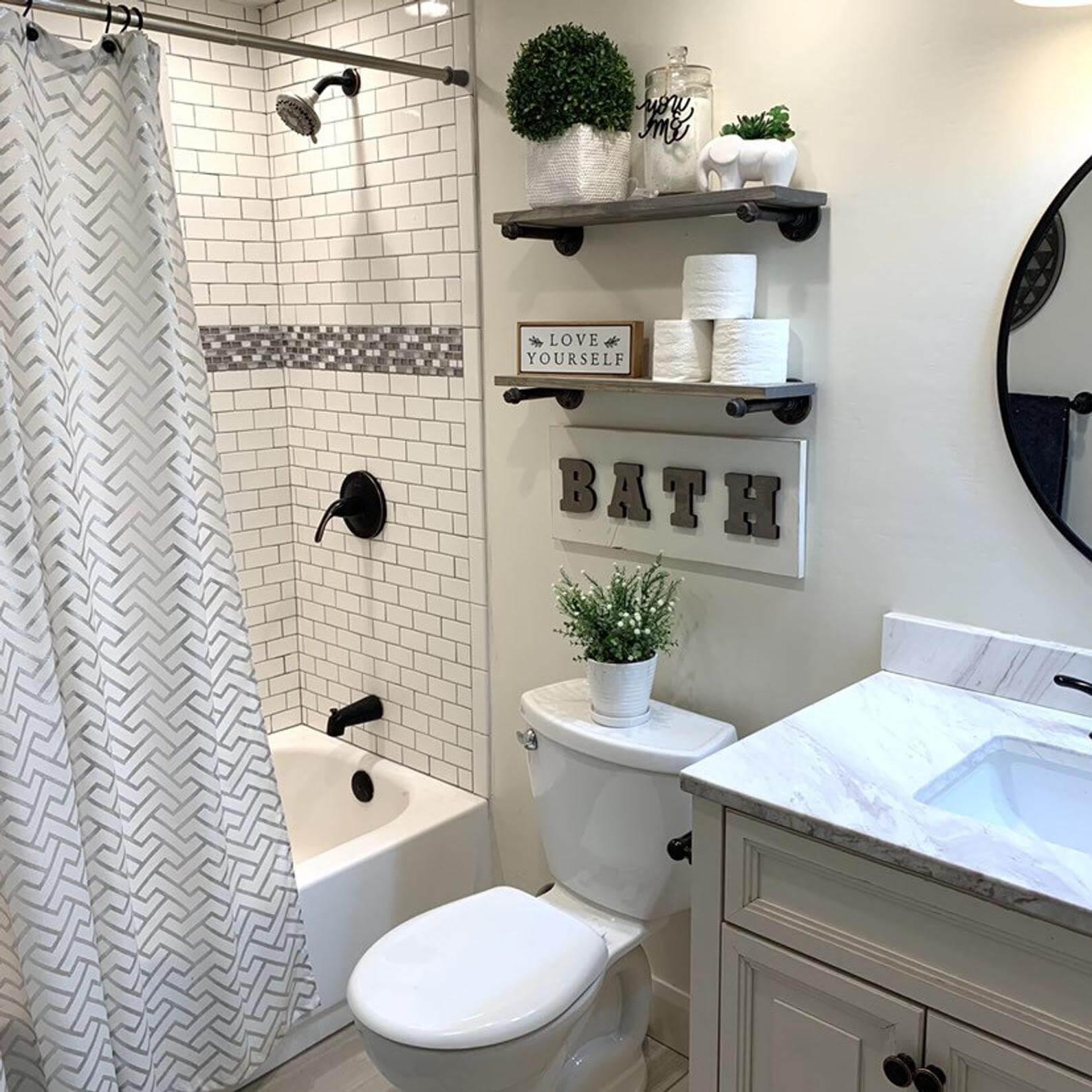 Bathroom storage farmhouse shelves