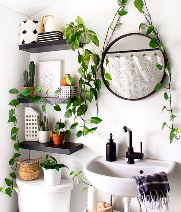 Bathroom storage floating shelves