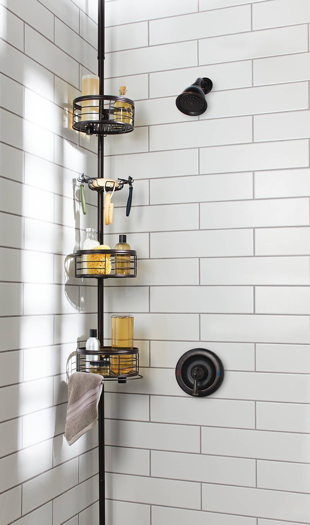 Bathroom storage tension pole shower caddy