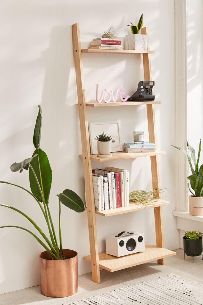 Bedroom organization ideas leaning bookshelf