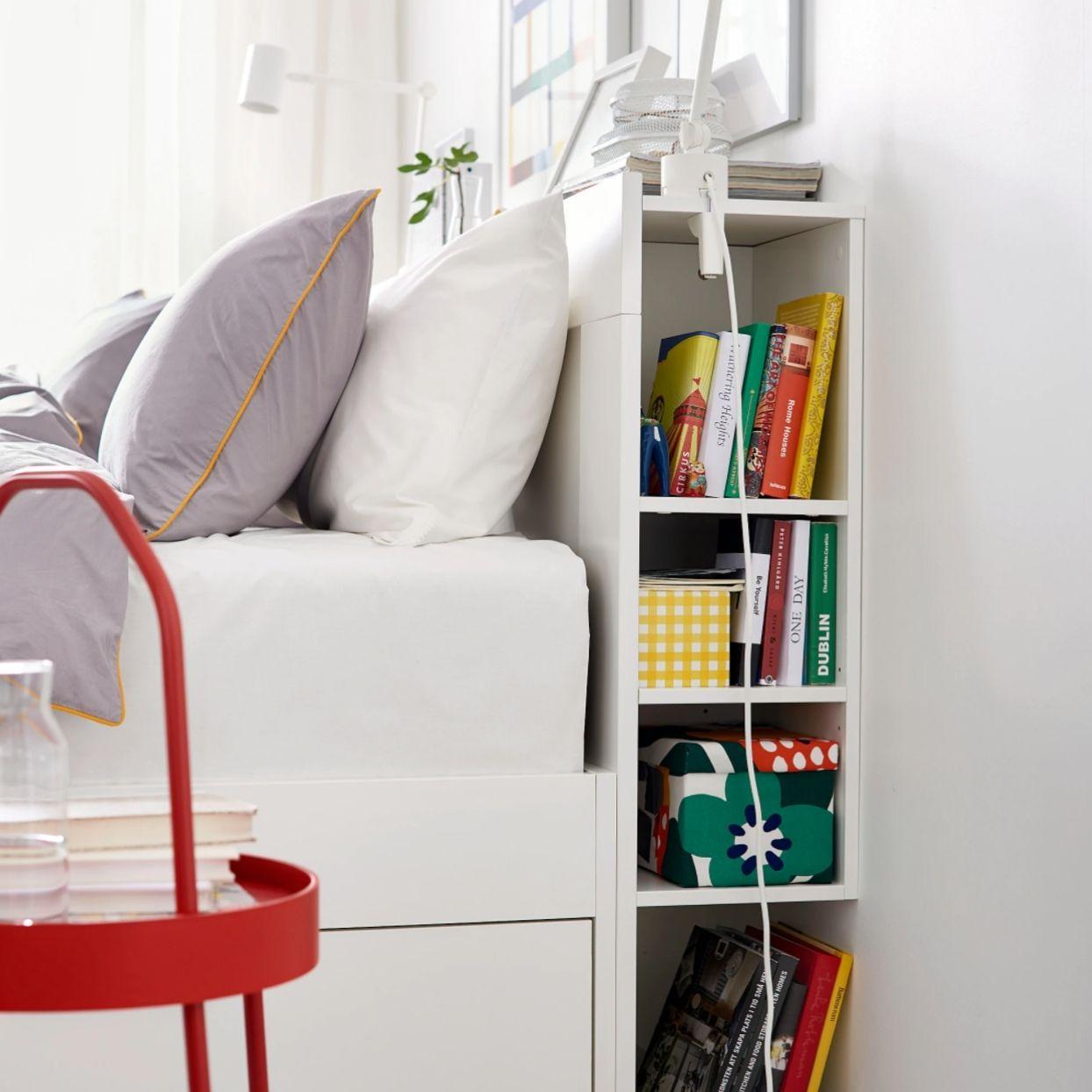 Bedroom organizer headboard with storage