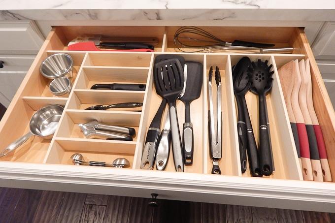 Kitchen organization DIY custom wooden drawer inserts