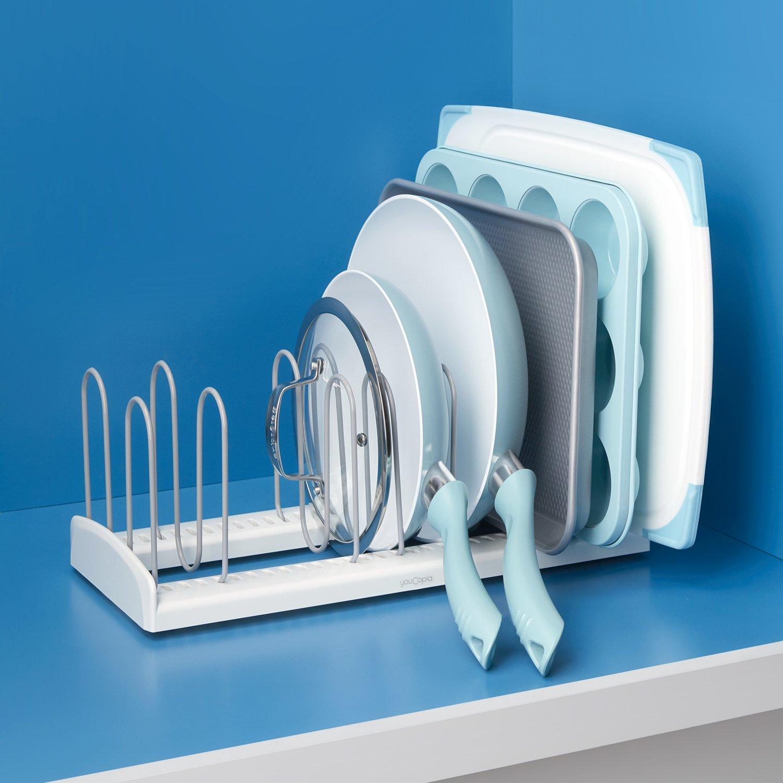 Kitchen organizer adjustable cookware rack