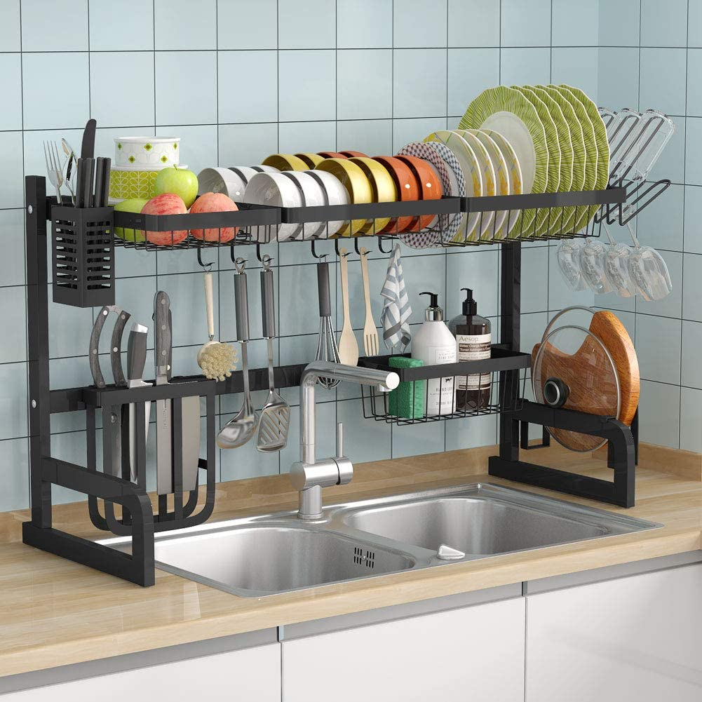 Kitchen organizer over the sink dish drying rack