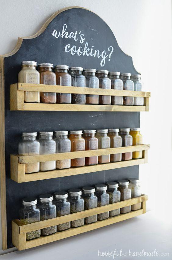 Kitchen organizing diy spice rack