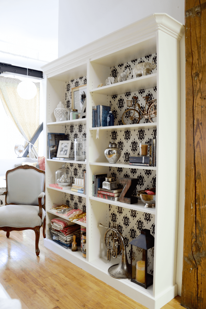 billy bookcase with moulding and decoupage