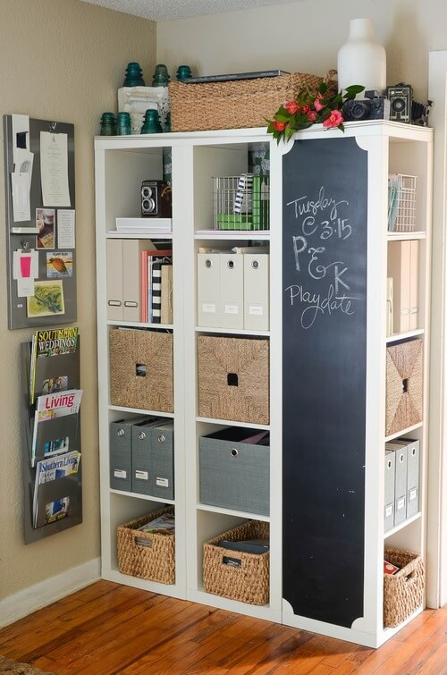 ikea hack kallax chalk board