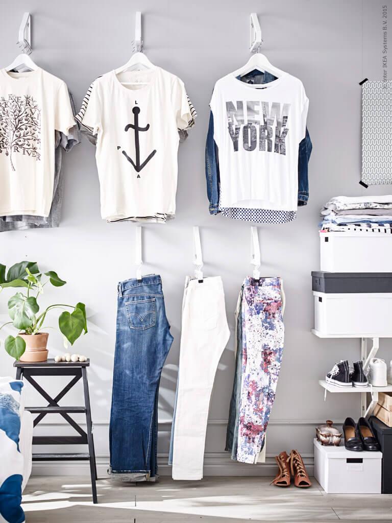 ikea hacks hanging clothes