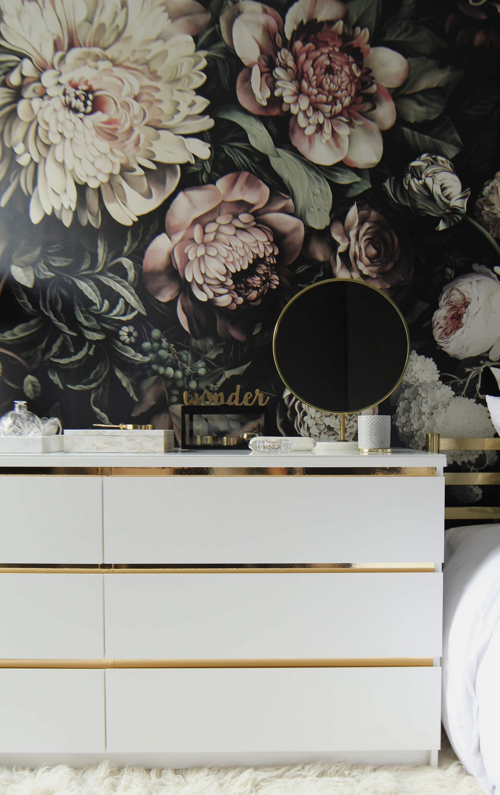 malm dresser hack with gold trims