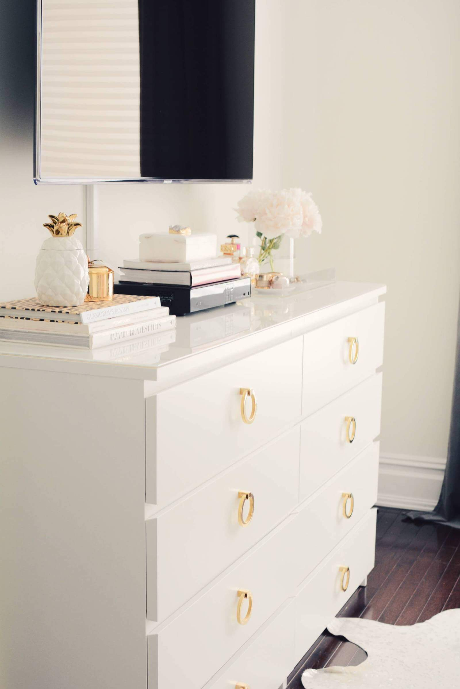 malm dresser with gold pulls hack