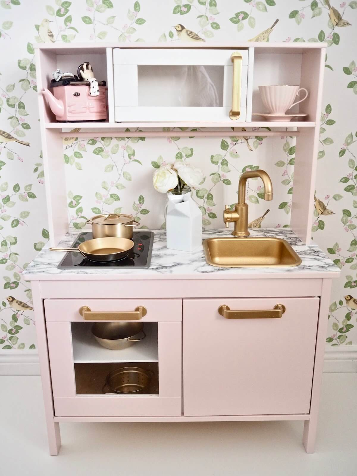 pink ikea kids play kitchen makeover