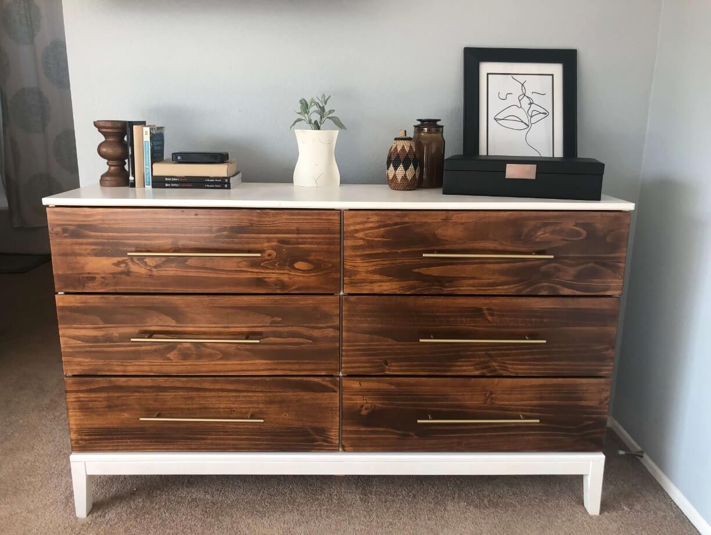 tarva wooden drawer hack gold pulls