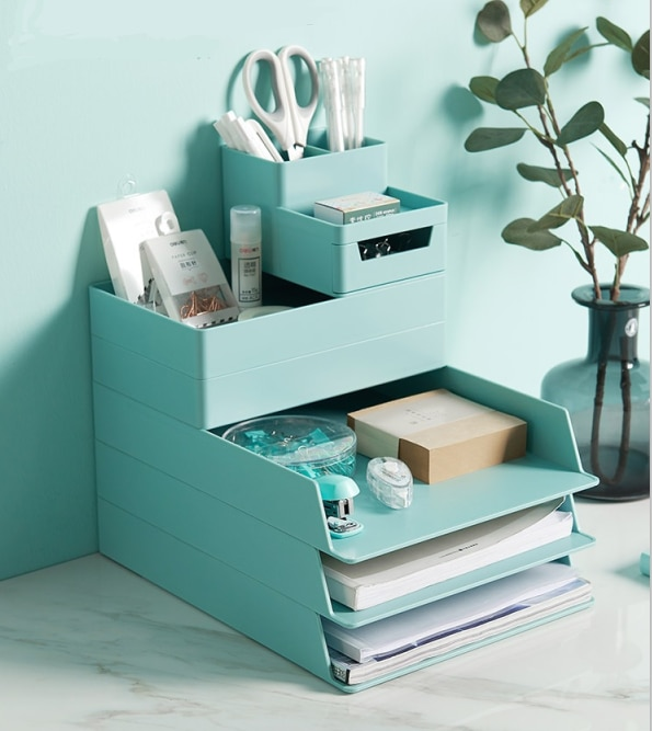 Office-organization-ideas-stackable-trays