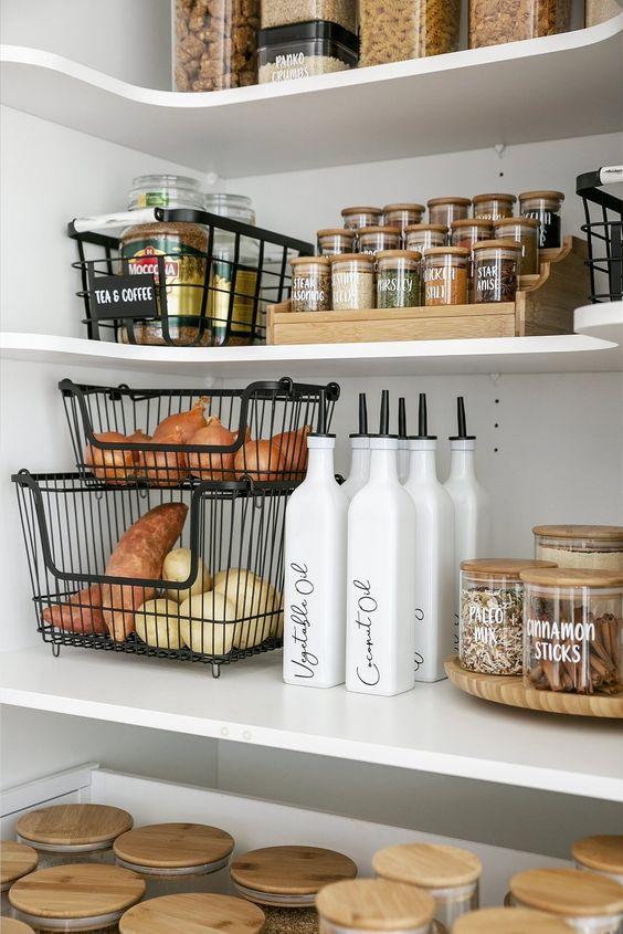 Kitchen-cabinet-organization-stackable-baskets