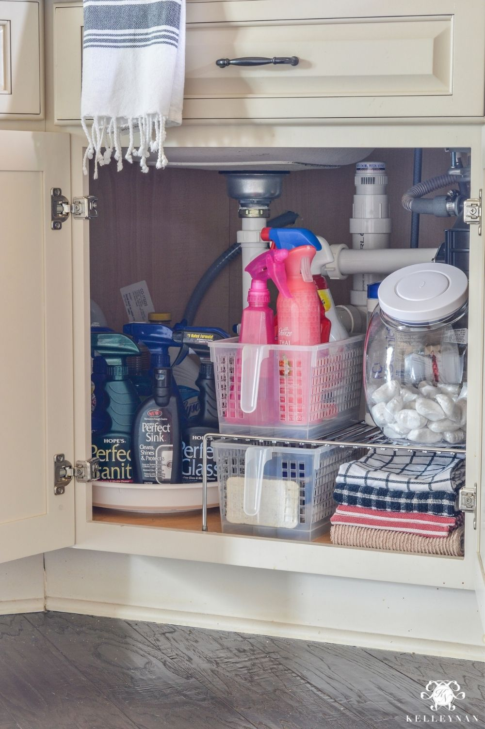 Under-kitchen-sink-organization-affordable-shelves