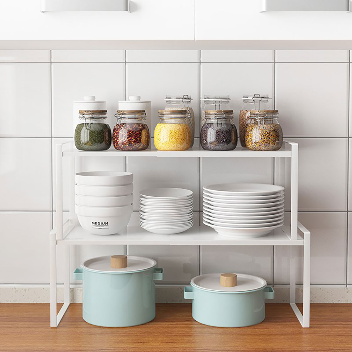 kitchen-cabinet-organizing-stackable-shelves
